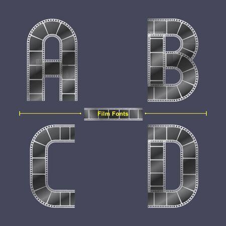 Alphabet graphique vectoriel dans un ensemble A, B, C, D, avec bande de film abstrait. Conception de typographie pour affiches, couverture, etc. Vecteurs