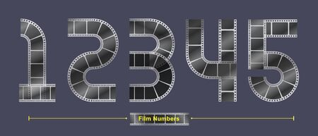 Vector graphic number in a set 1,2,3,4,5, with Abstract Film stripe fonts. Typography design for posters, cover, etc.