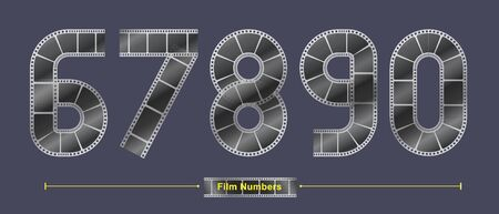 Vector graphic number in a set 6,7,8,9,0, with Abstract Film stripe fonts. Typography design for posters, cover, etc.