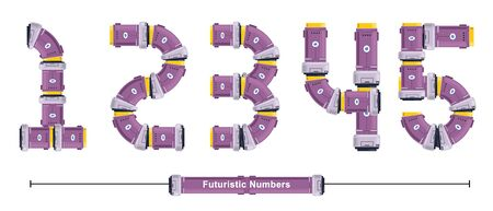 Vector graphic numbers in a set Y,Z, with Abstract Futuristic Font. Typography design for posters, cover, etc.