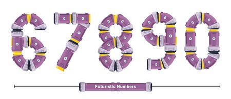 Vector graphic numbers in a set 6,7,8,9,0, with Abstract Futuristic Font. Typography design for posters, cover, etc.