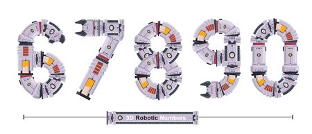 Vector graphic numbers in a set 6,7,8,9,0, with Abstract 3D Robot Font. Typography design for posters, cover, etc. 일러스트
