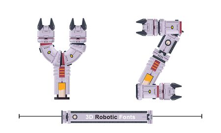 Vector graphic alphabet in a set Y,Z, with Abstract 3D Robot Font. Typography design for posters, cover, etc.