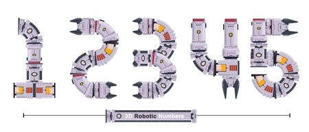 Vector graphic numbers in a set 1,2,3,4,5, with Abstract 3D Robot Font. Typography design for posters, cover, etc. 일러스트