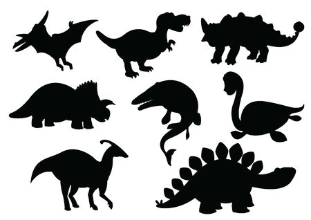 Dinosaurs and Jurassic dino monsters icons silhouette vector set.