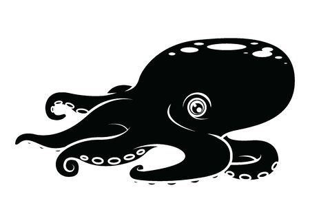 Cartoon octopus silhouette character. Swimming animal, tattoo or mascot. vector illustration.