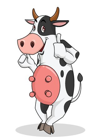 Cute cow is standing smiling. With thumbs up Mascot, cartoon, vector illustration 일러스트