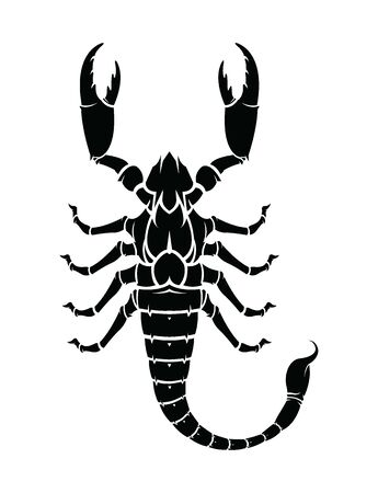 Black Scorpion silhouette, tattoo, logo. Vector illustration.