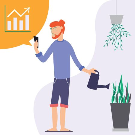 A man standing with a smartphone, checking stock, and watering plants. flat design vector illustration.
