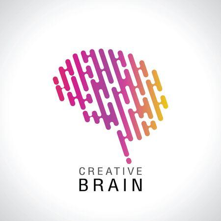 Vector colorful illustration of human brain logo.  creative imagination or artificial intelligence.