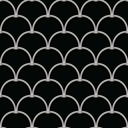 hand woven mesh fence made of stainless wire seamless. abstract sling circle on black background. vector illustration. Illusztráció