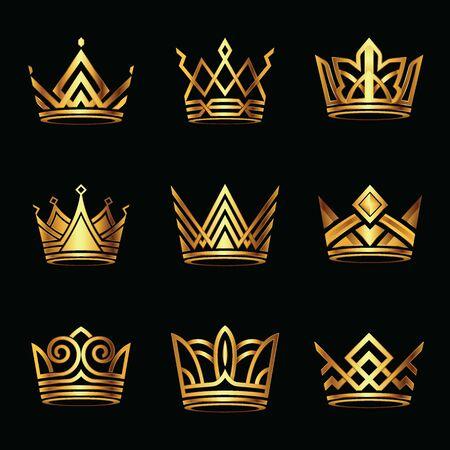 Conjunto moderno de logotipo de corona dorada. rey real reina oro de lujo abstracto. Ilustración de vector.