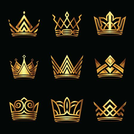 Modern golden crown logo set. royal king queen abstract luxury gold. Vector illustration.