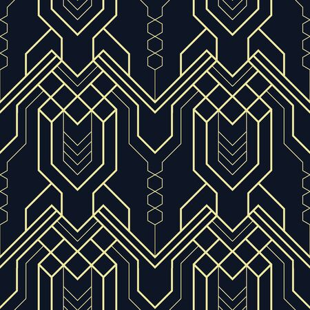 Vector modern geometric blue and gold tiles pattern. Abstract art seamless luxury background.