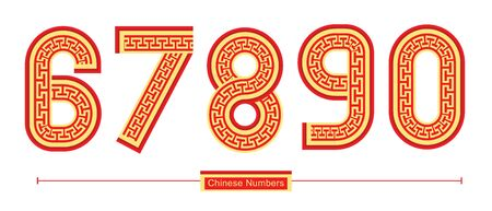 Vector graphic numbers in a set 6,7,8,9,0, with Chinese font style Çizim