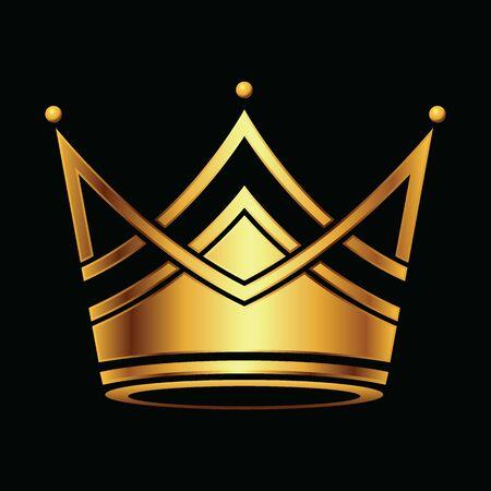 Golden Crown symbol icon template. Vintage on black background. Geometric symbol Logotype concept Vector illustration. Logos