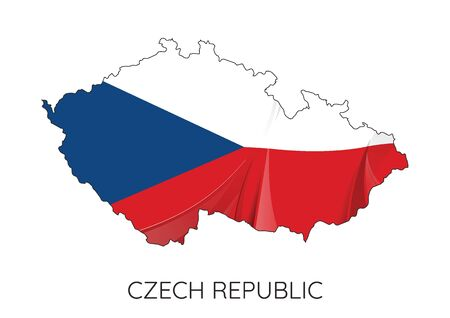 Map Of Czech Republic With Flag As Texture Isolated On White Background. Vector Illustration