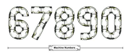 Vector graphic numbers in a set 6,7,8,9,0, with Abstract Futuristic Machine Font. Typography design for posters, cover, etc. Stok Fotoğraf - 134650226