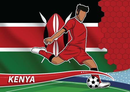Vector illustration of football player shooting on goal. Soccer team player in uniform with state national flag of kenya.