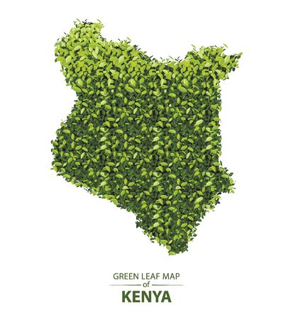 Kenya map made up of green leaf on white background vector illustration of a forest is conceptual of the global green environmental issues worldwide