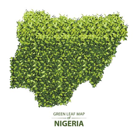 Nigeria map made up of green leaf on white background vector illustration of a forest is conceptual of the global green environmental issues worldwide Ilustracja
