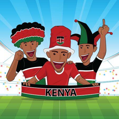 Kenia Flagge. Jubeln Sie Fußball und Sport unterstützen Vektor-Illustration.