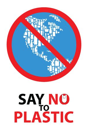 Say no to plastic with world symbol stop plastic banner design. Problem plastic pollution. Ecological poster. vector illustration.