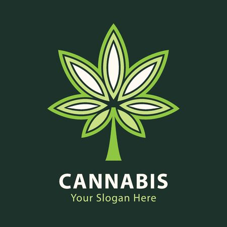 medical marijuana, cannabis green leaf logo. vector illustration. Ilustracja