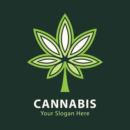 medical marijuana, cannabis green leaf logo. vector illustration. Illustration