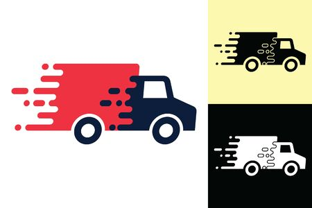 Truck delivery icon vector, separate into 3 forms. Van, flat lines, fast moving, concept of service labels, fast delivery illustration. Ilustracja