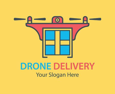Drone delivery icon. Illustration of business logotype. Vector Icon, logo, design elements. Ilustracja