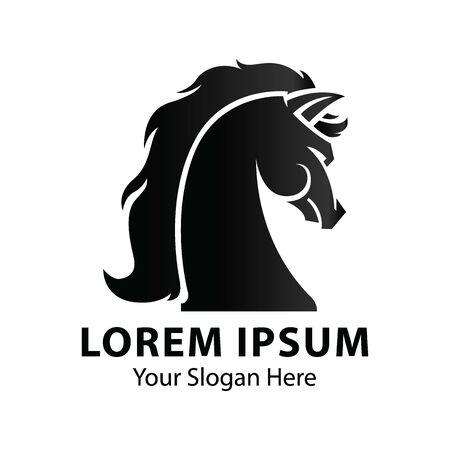 Creative Horse Head Logo Icon Symbol Vector Design Illustration. Ilustracja