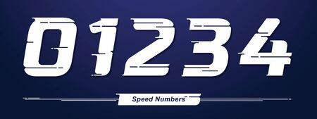 Vector graphic numbers in a set 0,1,2,3,4, with Speed font style. for event, promo, banner, monogram and poster. Typeset design.