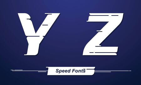 Vector graphic alphabet in a set Y,Z, with Speed font style. for event, promo, banner, monogram and poster. Typeset design. Ilustracja