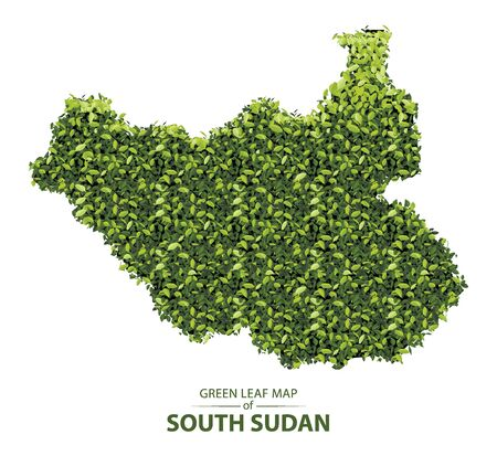 south sudan map made up of green leaf on white background vector  illustration of a forest is conceptual of the global green environmental issues worldwide Ilustracja