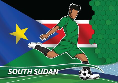 Vector illustration of football player shooting on goal. Soccer team player in uniform with state national flag of south sudan.
