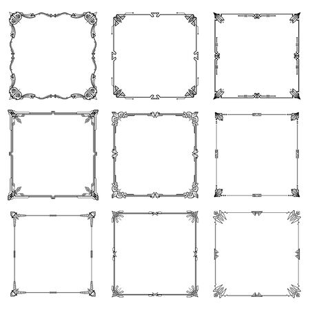 Decorative frames and borders abstract rectangle proportions set. vector illustration. Ilustracja