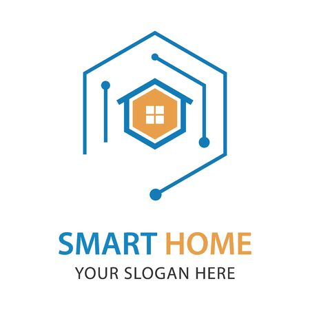 Smart House Logo Design Template. Abstract blue connect house concept vector. Ilustracja
