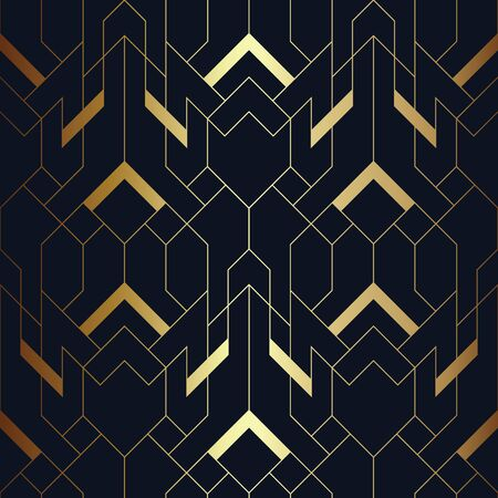 Vector modern geometric tiles pattern. luxury dark blue with gold shape. Abstract art deco background.