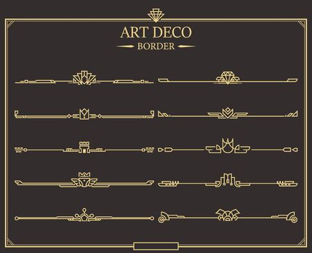 Set of Art deco gold calligraphic page dividers. Vector golden flourishes page decoration vignettes. header and border template in style of 1920s for your design. Ilustracja