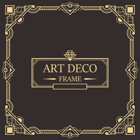 Art deco border and frame. Creative template in style of 1920s for your design. Vector illustration Иллюстрация
