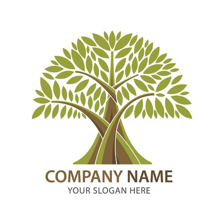 branches abstract green leaf logo business vector element template. Иллюстрация