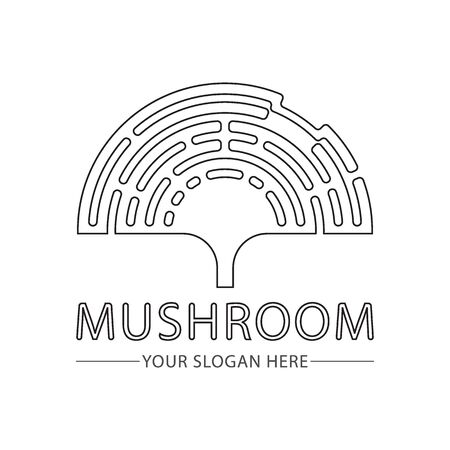 Mushroom abstract minimal line logo vector element template. simple hand drawn illustration.