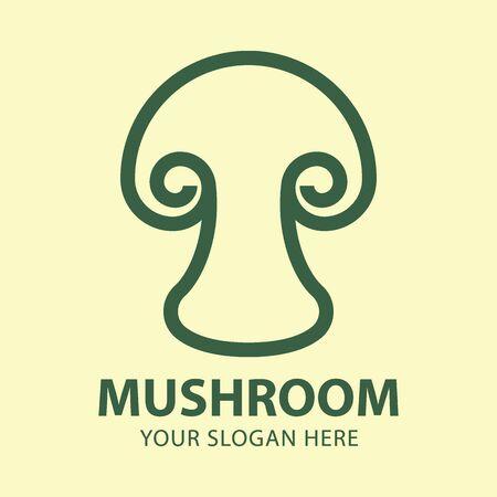 Mushroom logo icon design abstract modern minimal style illustration. Vector emblem sign symbol logotype.