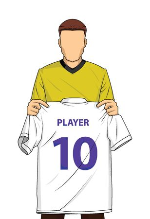 New transfer football or soccer player holds white mock up shirt isolated vector. illustration of a man in a soccer costume showing a jersey. Иллюстрация