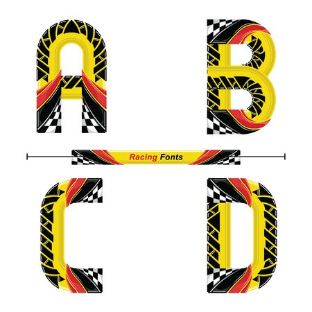 Vector graphic alphabet in a set A,B,C,D, with Abstract Racing Flag. Typography design for posters, logos, cover, etc. Иллюстрация