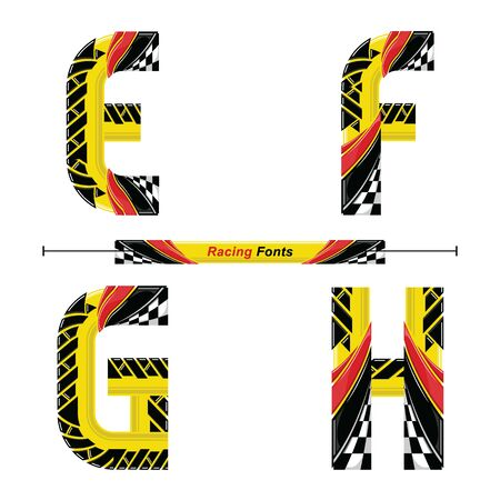 Vector graphic alphabet in a set E,F,G,H, with Abstract Racing Flag. Typography design for posters, logos, cover, etc. Ilustracja