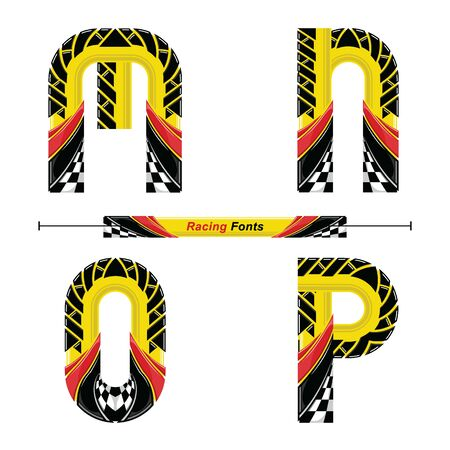 Vector graphic alphabet in a set M,N,O,P, with Abstract Racing Flag. Typography design for posters, logos, cover, etc.