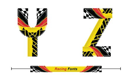 Vector graphic alphabet in a set Y,Z, with Abstract Racing Flag. Typography design for posters, logos, cover, etc.