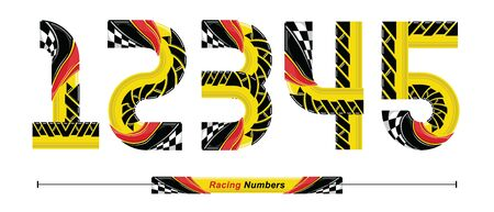 Vector graphic numbers in a set 1,2,3,4,5, with Abstract Racing Flag. Typography design for posters, logos, cover, etc.